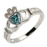Silver Claddagh Birthstone Ring