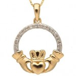 10k Gold Claddagh Pendant with Diamonds