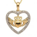10k Gold Claddagh and Heart Pendant with Diamonds