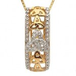 10k Gold Trinity Knot Pendant with Diamonds