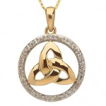 10k Gold Trinity Knot and Diamond Pendant