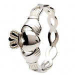 Silver Twister Claddagh Ring