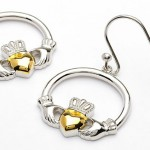 Silver and Gold Plated Claddagh Earrings