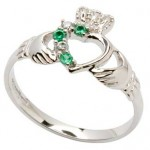 Silver Claddagh Part Stone Set Ring