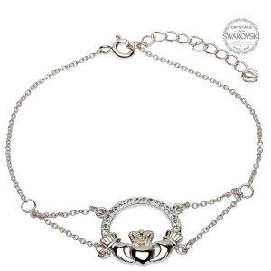 Claddagh Bracelet Adorned With Swarovski Crystals