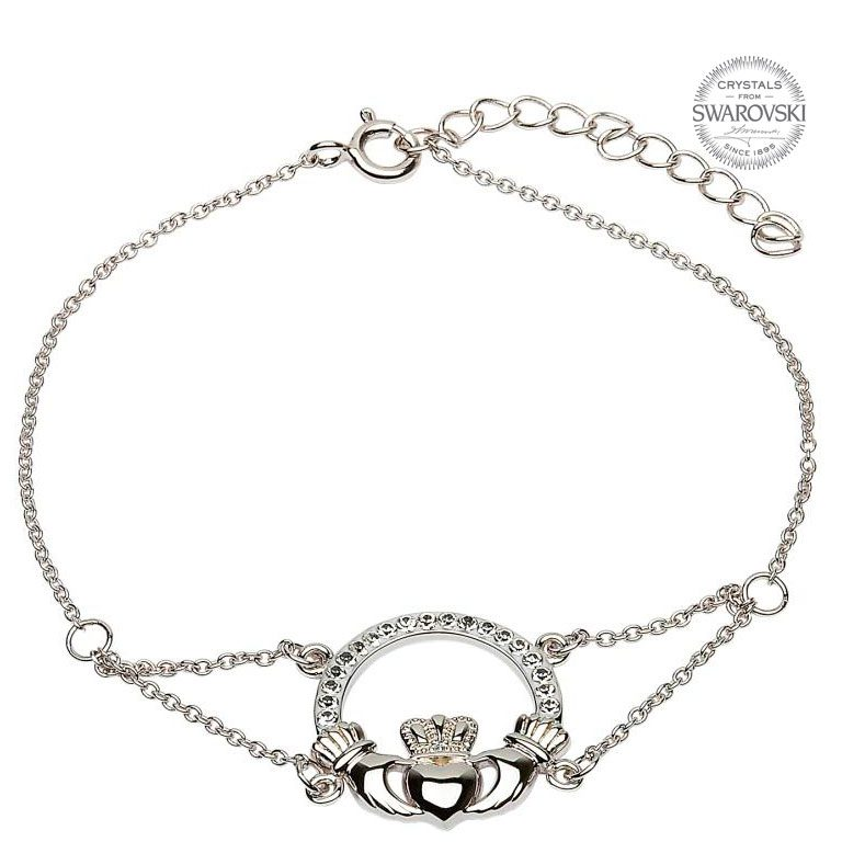 Claddagh Bracelet Adorned With Swarovski Crystals