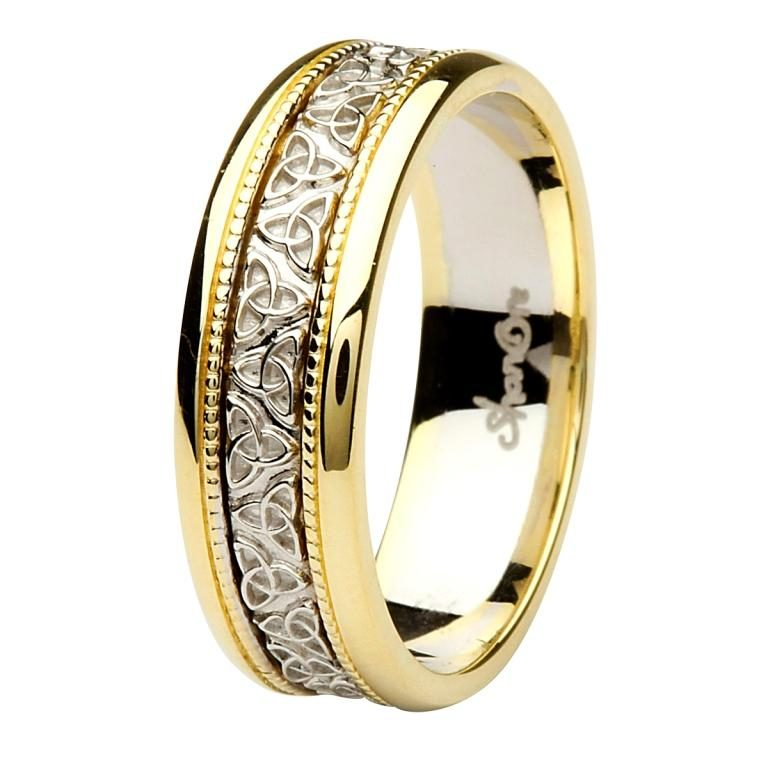 Gents Two Tone Gold Trinity Knot Wedding Ring