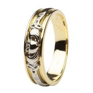 Ladies Yellow Gold Diamond Set Celtic and Claddagh Wedding Band