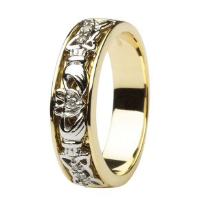 Ladies Yellow Gold Diamond Set Claddagh & Celtic Wedding Band