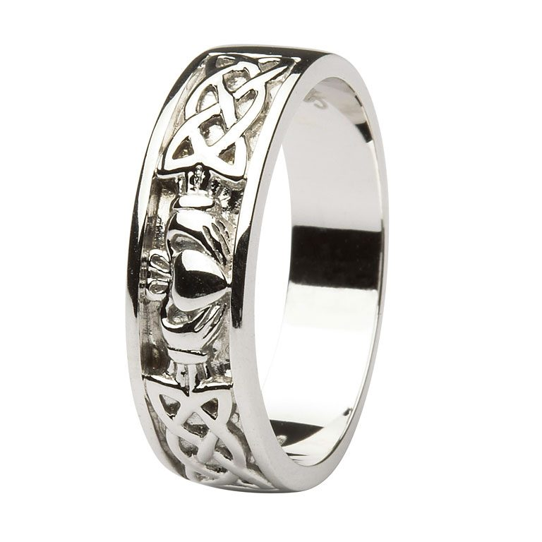 Gents White Gold Celtic and Claddagh Wedding Band