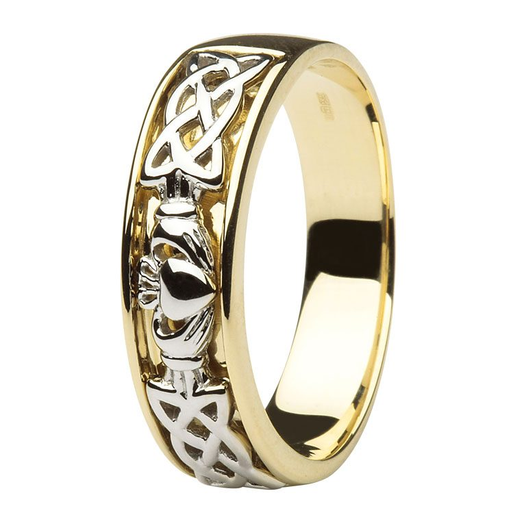 Gents Yellow Gold Celtic and Claddagh Wedding Band