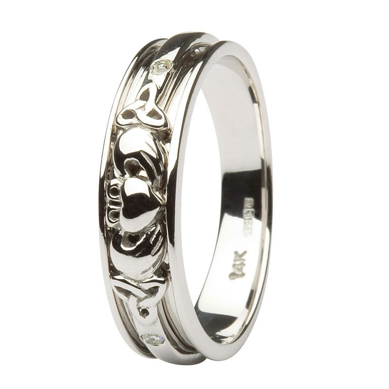 Ladies White Gold Diamond Set Celtic and Claddagh Wedding Band