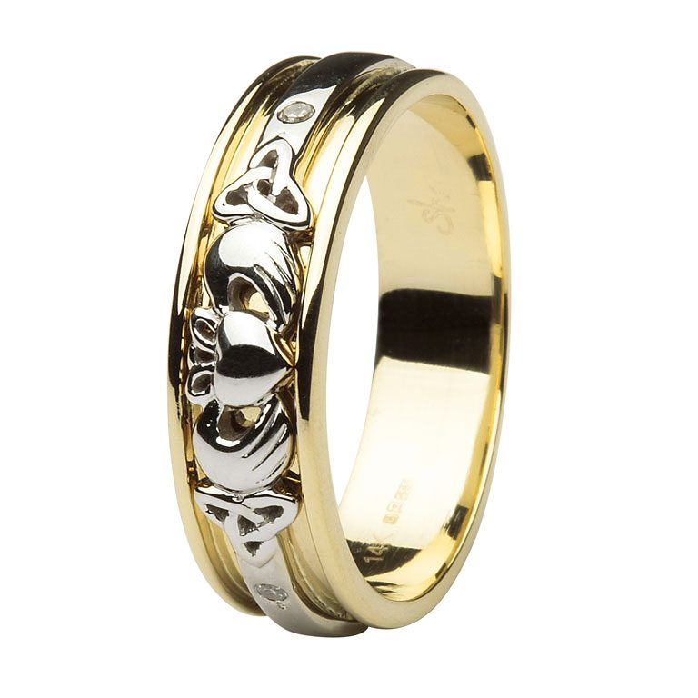 Gents Yellow Gold Diamond Set Celtic & Claddagh Wedding Band