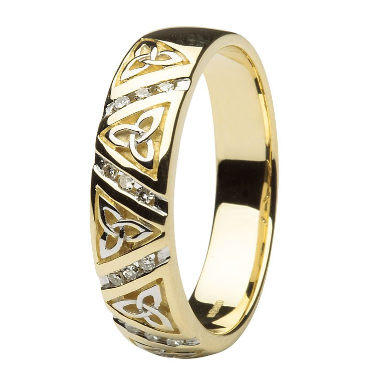 Ladies Yellow Gold Diamond Comfort Fit Trinity Knot Wedding Ring