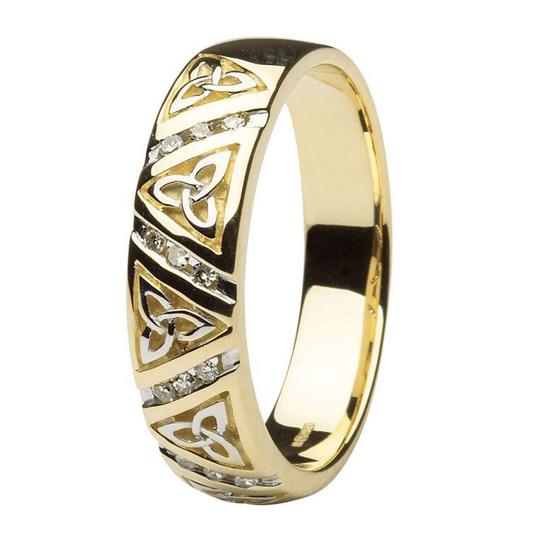 Ladies Yellow Gold Diamond Comfort Fit Trinity Knot Wedding Ring