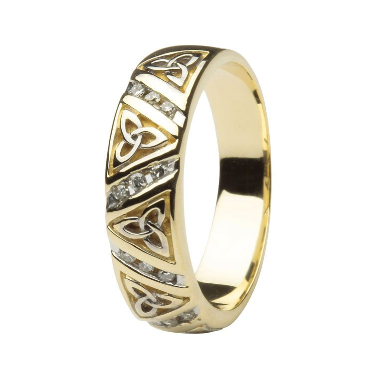 Diamond Trinity Knot Yellow Gold Comfort Fit Wedding Ring for Men