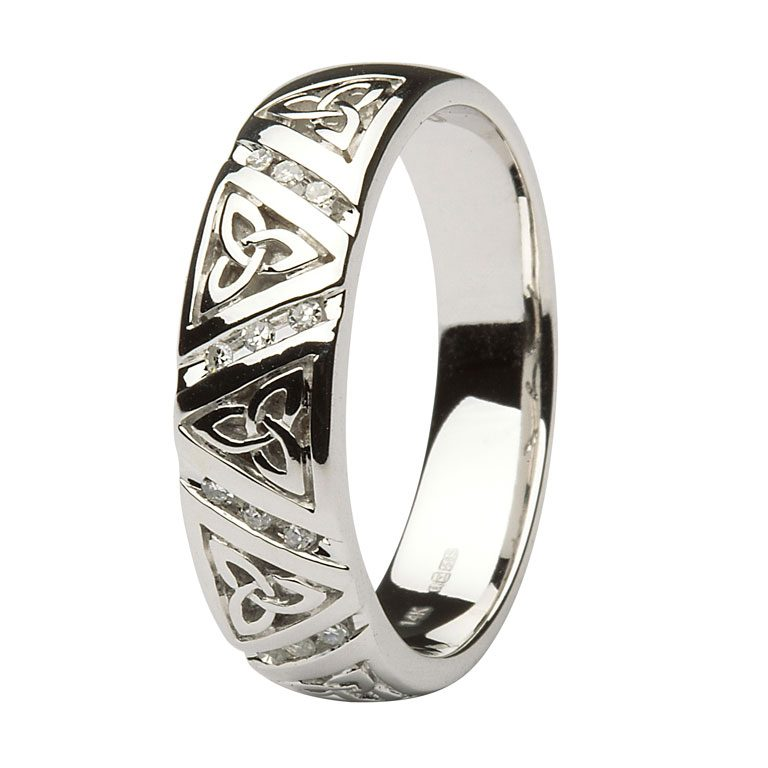 Diamond Trinity Knot White Gold Comfort Fit Wedding Ring for Men