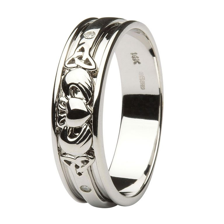 Gents White Gold Diamond Set Celtic & Claddagh Wedding Band