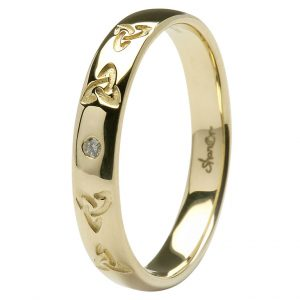 Gents Yellow Gold Trinity Celtic Knot and Diamond Wedding Ring