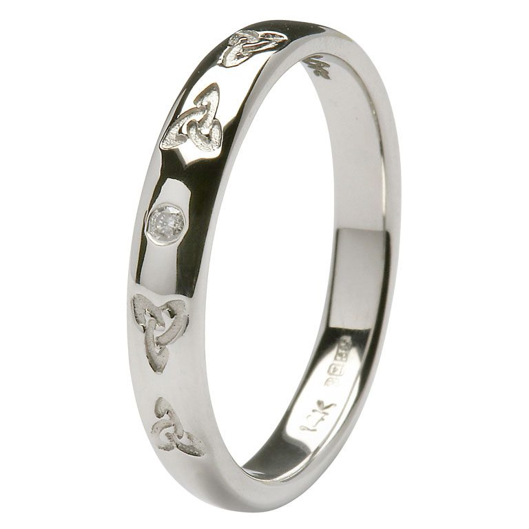 Gents White Gold Trinity Celtic Knot and Diamond Wedding Ring