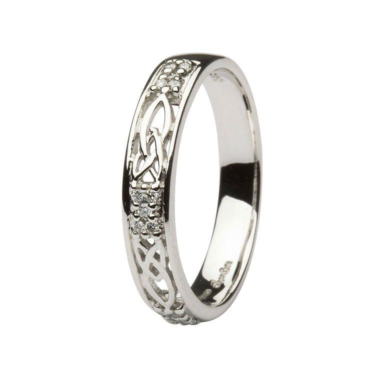 Ladies White Diamond Cluster Celtic Wedding Band
