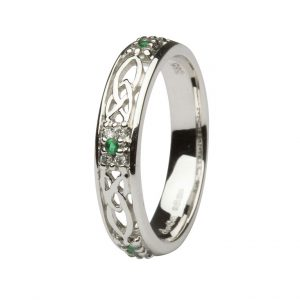 Ladies White Gold Emerald & Diamond Cluster Trinity Knot Band