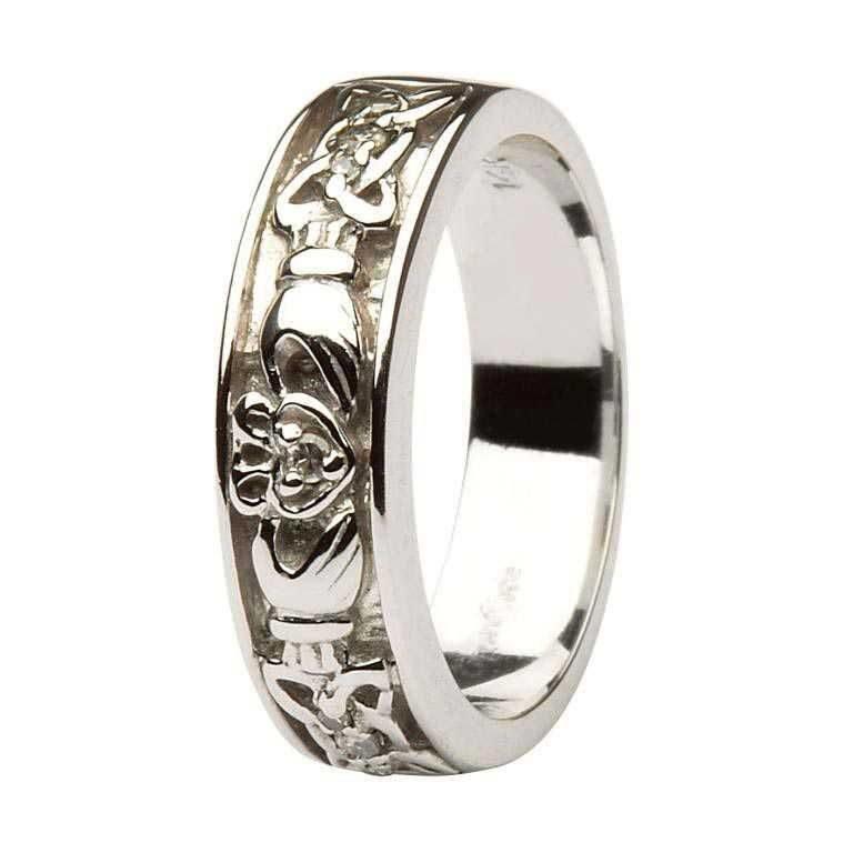 Ladies White Gold Diamond Set Claddagh & Celtic Wedding Band