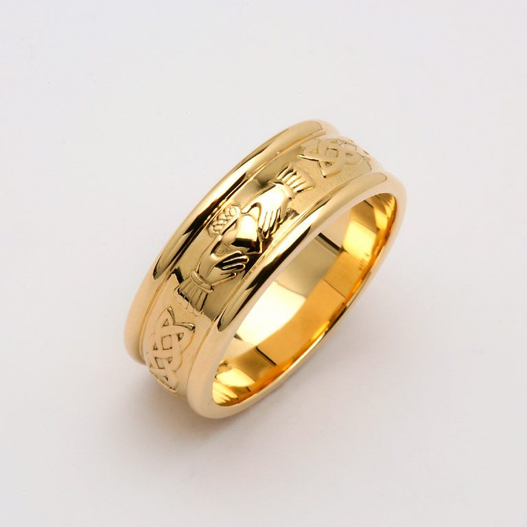 Gents Yellow Gold Claddagh and Celtic Wedding Band