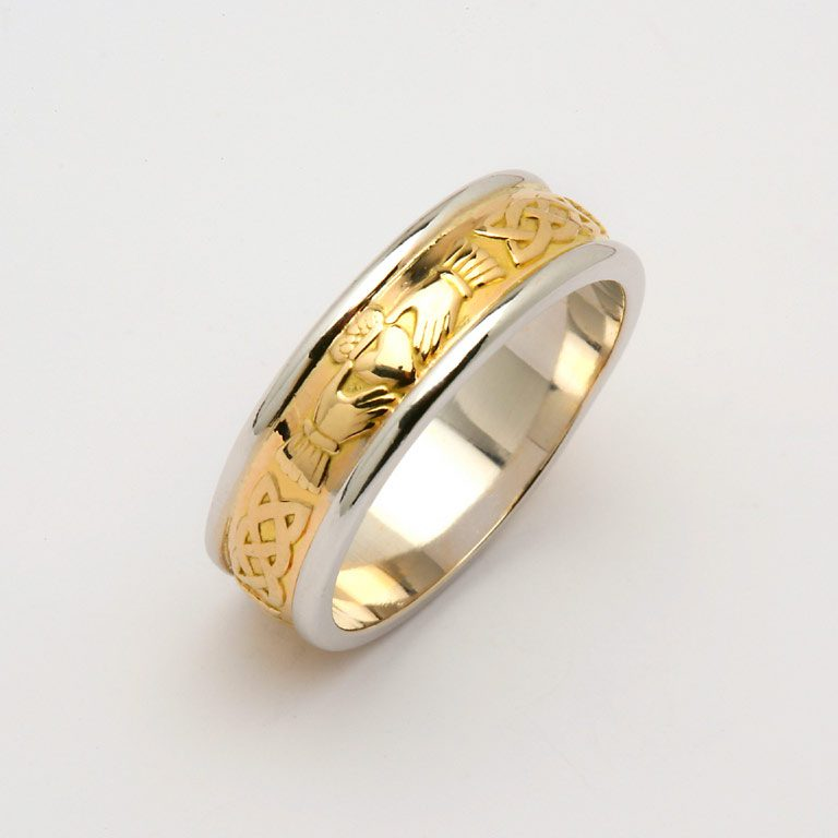 Gents Two Tone Yellow Gold and White Gold Claddagh and Celtic Wedding Band