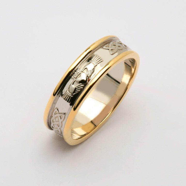 Gents Two Tone White Gold or Silver and Yellow Gold Claddagh and Celtic Wedding Band