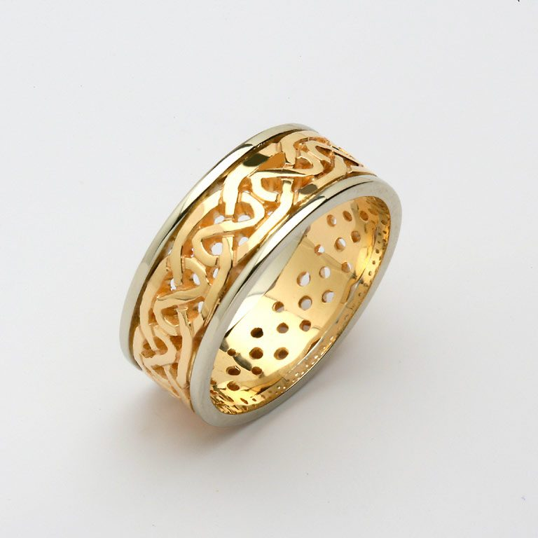 Ladies Two Tone Yellow Gold and White Gold Celtic Wedding Band