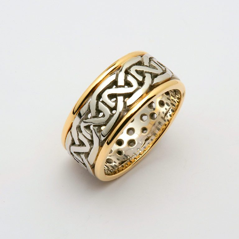 Ladies Two Tone White Gold or Silver and Yellow Gold Celtic Wedding Band