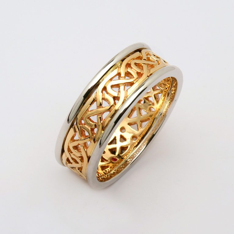 Mens Two Tone Yellow and White Gold Knotwork Celtic Wedding Ring