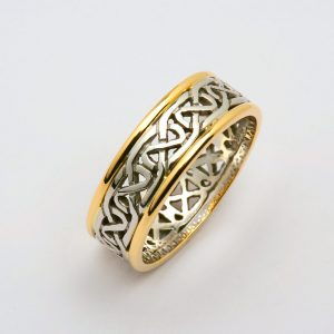 Mens Two Tone White or Silver and Yellow Gold Knotwork Celtic Wedding Ring