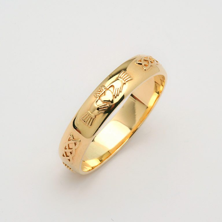 Ladies Yellow Gold Domed Claddagh & Celtic Wedding Band