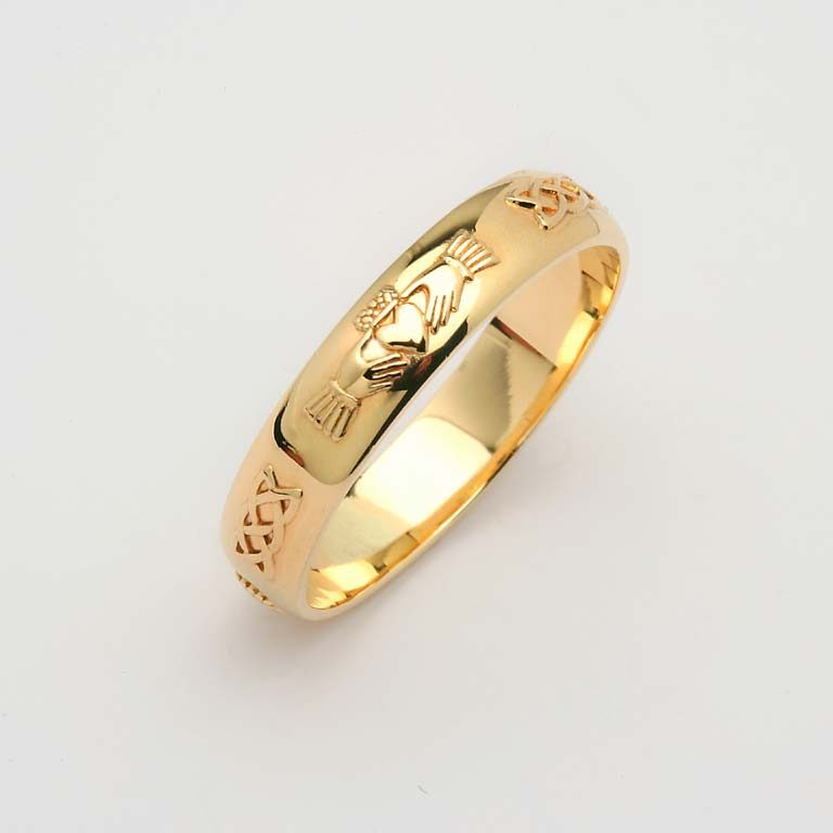 Gents Yellow Gold Gents Domed Claddagh & Celtic Wedding Band