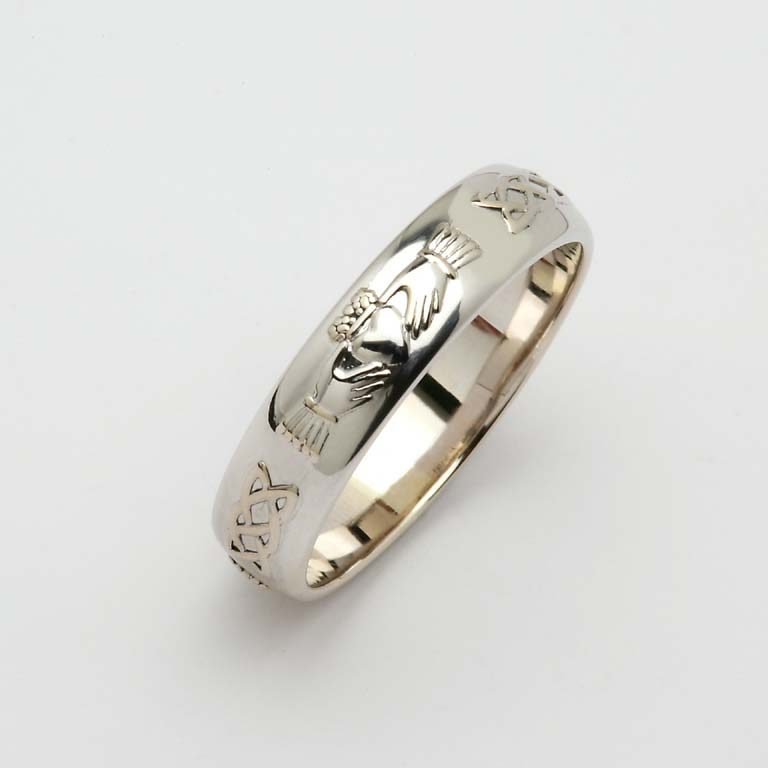 Gents White Gold or Silver Domed Claddagh & Celtic Wedding Band