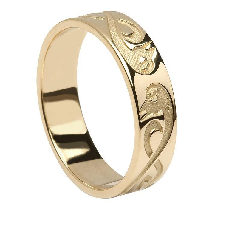 """Gents Yellow Gold """"Le Cheile"""" Celtic Wedding Band"""