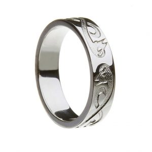 """Gents Silver or White Gold """"Le Cheile"""" Celtic Wedding Band"""