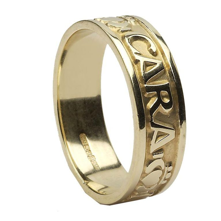 Yellow Gold Mo Anam Cara Irish Script Mens Wedding Band