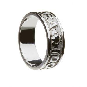 White Gold or Silver Mo Anam Cara Irish Script Mens Wedding Band