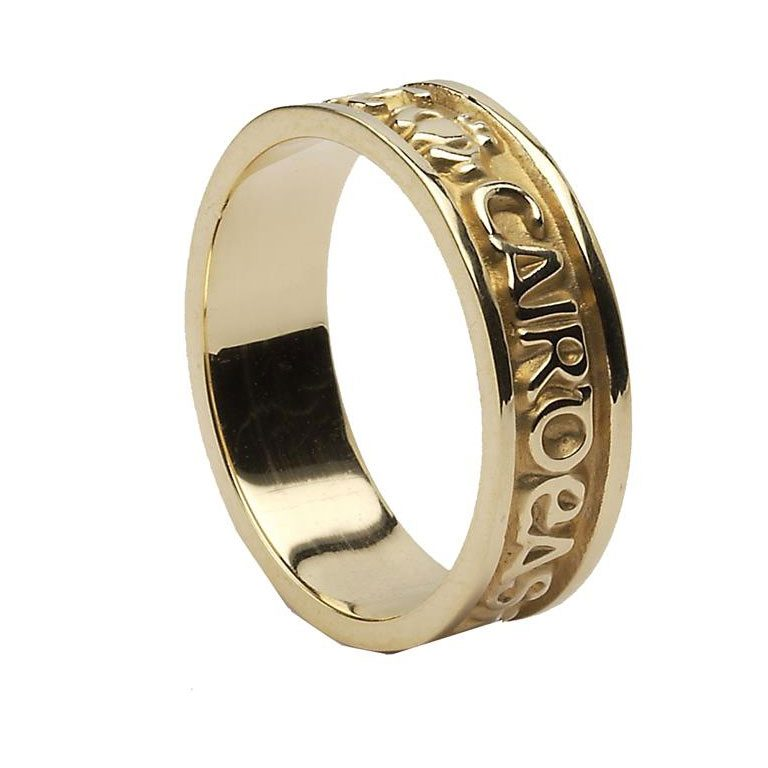 Yellow Gold Gra Dilseacht Cairdeas Ladies Wedding Band