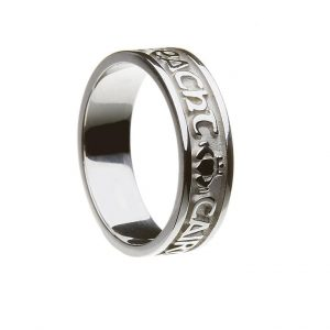White Gold or Silver Gra Dilseacht Cairdeas Ladies Wedding Band