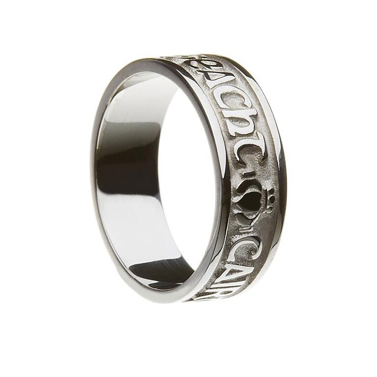 White Gold or Silver Gra Dilseacht Cairdeas Mens Wedding Band