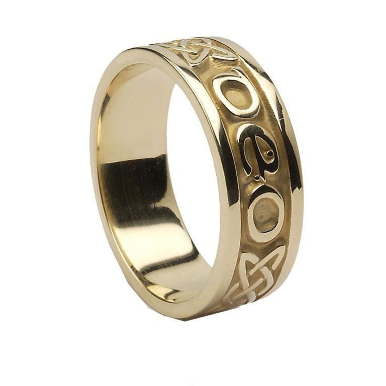 Yellow Gold Gra Go Deo Irish Script Ladies Wedding Band