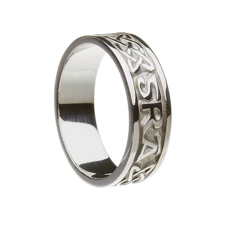 White Gold or Silver Gra Go Deo Irish Script Ladies Wedding Band
