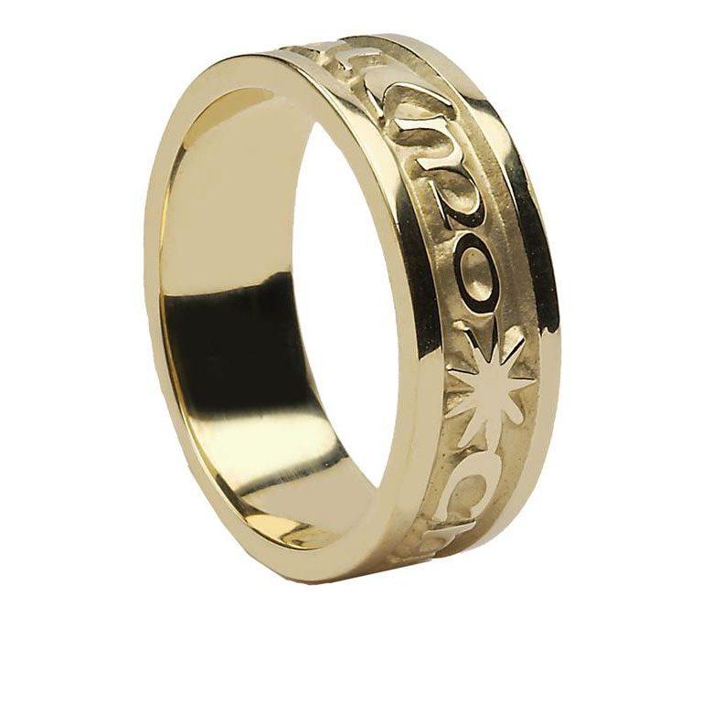 Yellow Gold Gra Geal Mo Chroi Irish Script Ladies Wedding Band
