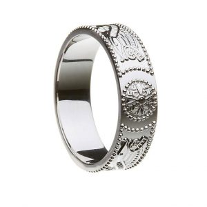 Mens Silver or White Gold Celtic Shield Wedding Band