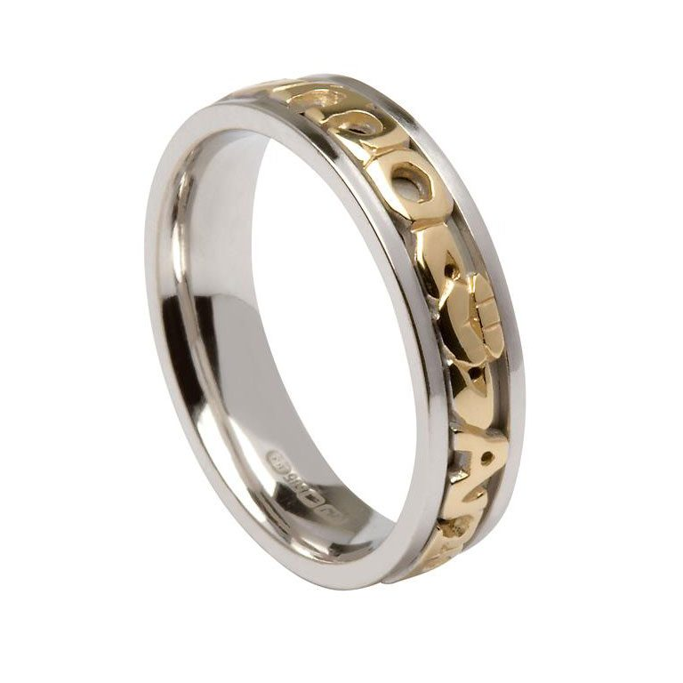 Gents Silver or White Gold Signature Mo Anam Cara Wedding Ring