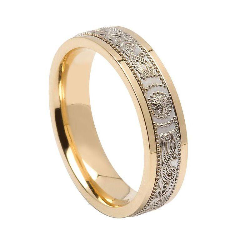 Ladies Yellow Gold Rims Signature Celtic Warrior Wedding Ring